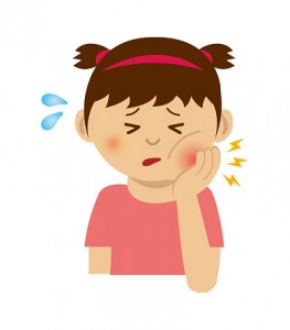 Girl with toothache illustration
